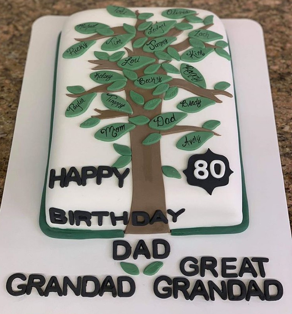 80th birthday cake with family tree decorating it
